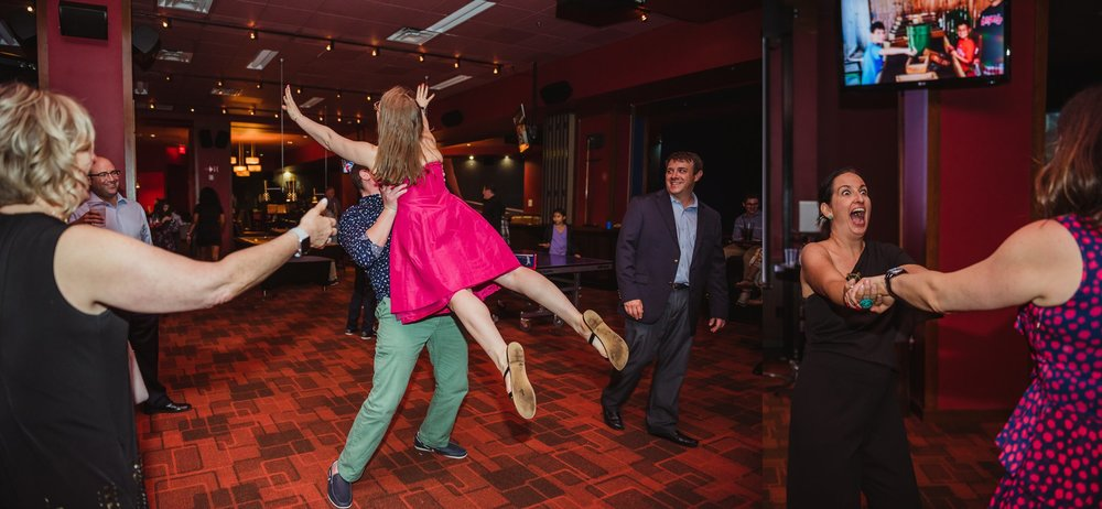 Friends and family get silly and dance at the mitzvah reception at Kings in Raleigh, North Carolina, photos by Rose Trail Images.