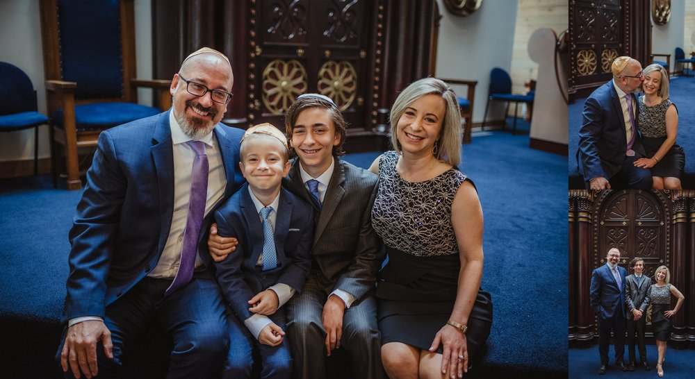 The bar mitzvah boy poses with his family for Rose Trail Images in front of the ark at Temple Beth Or in Raleigh, North Carolina.