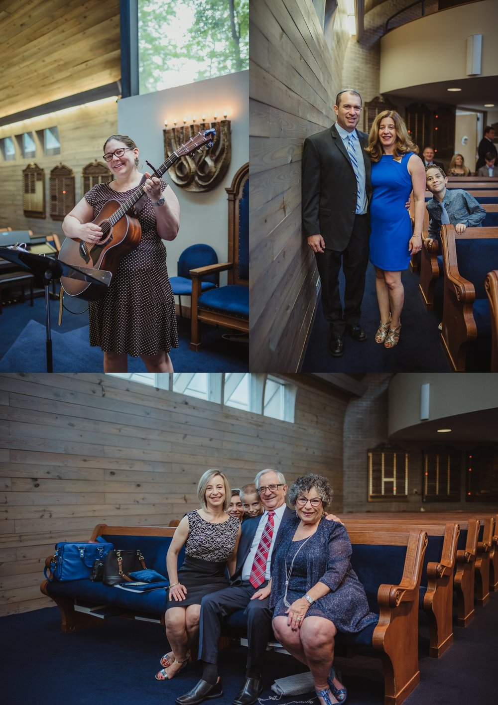 Family poses for Rose Trail Images by the pews, and Rabbi Citrin plays the guitar, before the mitzvah ceremony at Temple Beth Or in Raleigh, North Carolina.