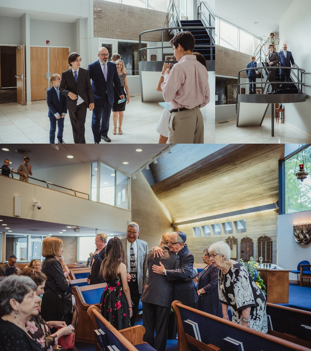 The bar mitzvah boy and his family walk down the stairs before his ceremony at Temple Beth Or in Raleigh, North Carolina, images by Rose Trail Images.