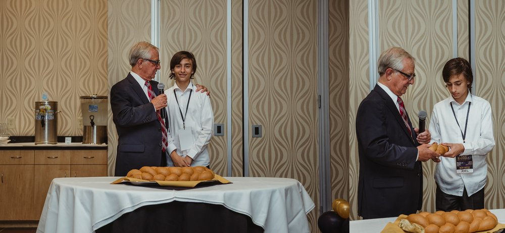 Joel and his Grandfather gave the blessing before the dinner at his mitzvah celebration party at Embassy Suites in Raleigh, North Carolina,images by Rose Trail Images.