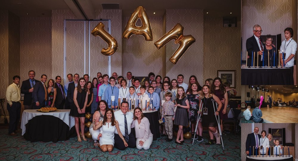 Joel's mitzvah celebration party at Embassy Suites in Raleigh, North Carolina included a candle lighting ceremony with friends and family, images by Rose Trail Images.