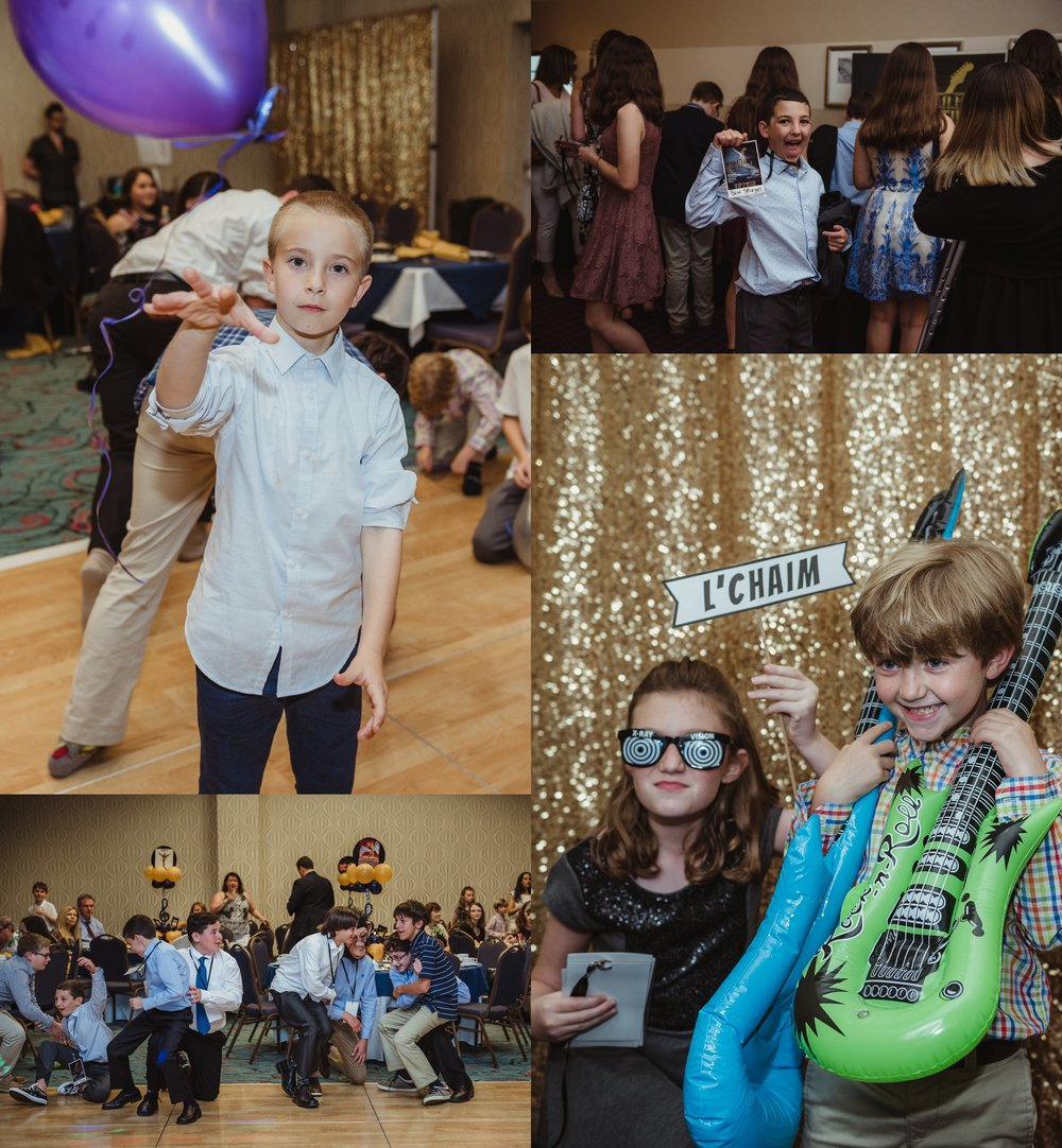 All the guests enjoyed games and photos at Joel's mitzvah celebration party at Embassy Suites in Raleigh, North Carolina,images by Rose Trail Images.