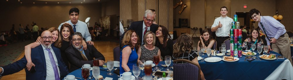 Family and friends posed for Rose Trail Images at Joel's mitzvah celebration party at Embassy Suites in Raleigh, North Carolina.
