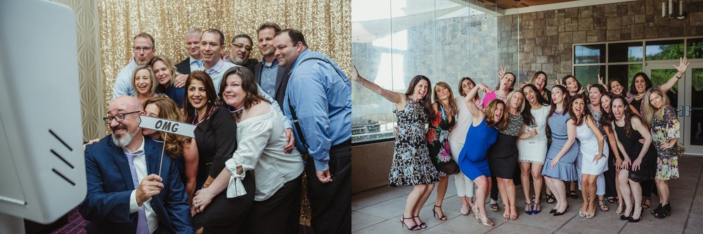 All the guests and family posed for photos at Joel's mitzvah celebration party at Embassy Suites in Raleigh, North Carolina,images by Rose Trail Images.