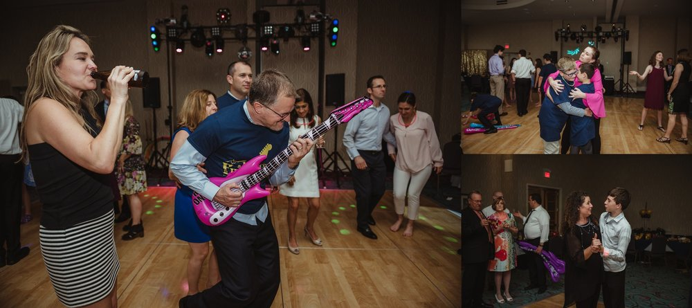 All the guests danced all afternoon at Joel's mitzvah celebration party at Embassy Suites in Raleigh, North Carolina, images by Rose Trail Images.