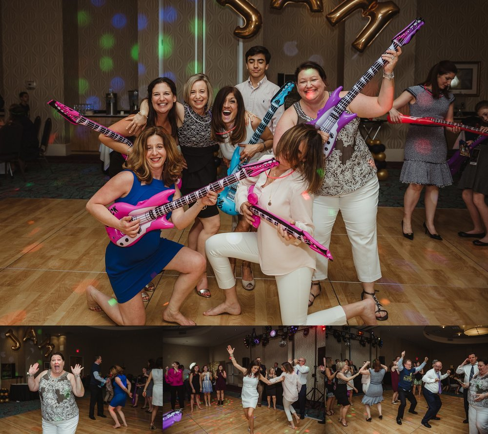 All the mitzvah moms danced and posed at Joel's mitzvah celebration party at Embassy Suites in Raleigh, North Carolina,images by Rose Trail Images.