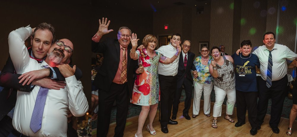All the family really enjoyed dancing together at Joel's mitzvah celebration party at Embassy Suites in Raleigh, North Carolina,images by Rose Trail Images.