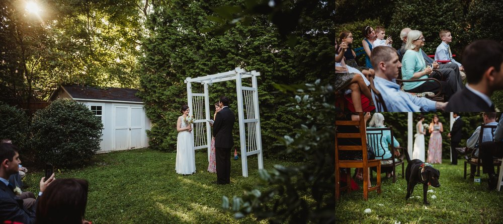 The bride and groom's family were excited to see their intimate wedding ceremony taking place in their backyard in downtown Raleigh, North Carolina, photo by Rose Trail Images.
