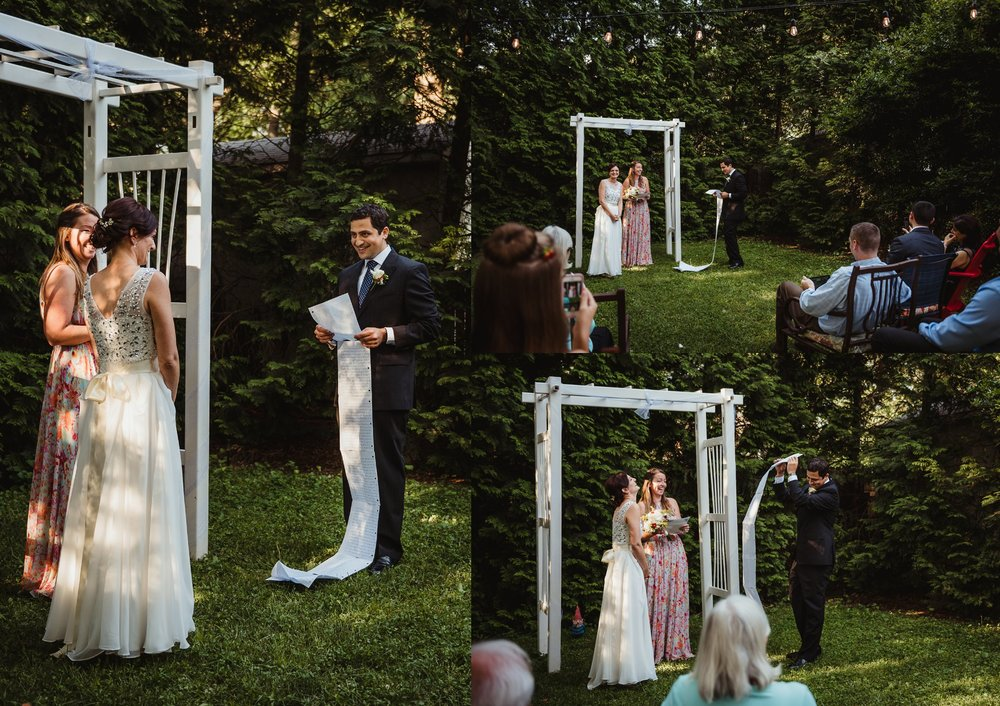 "The groom read his very ""long"" vows during their intimate wedding ceremony that took place in their backyard in downtown Raleigh, North Carolina, photo by Rose Trail Images."