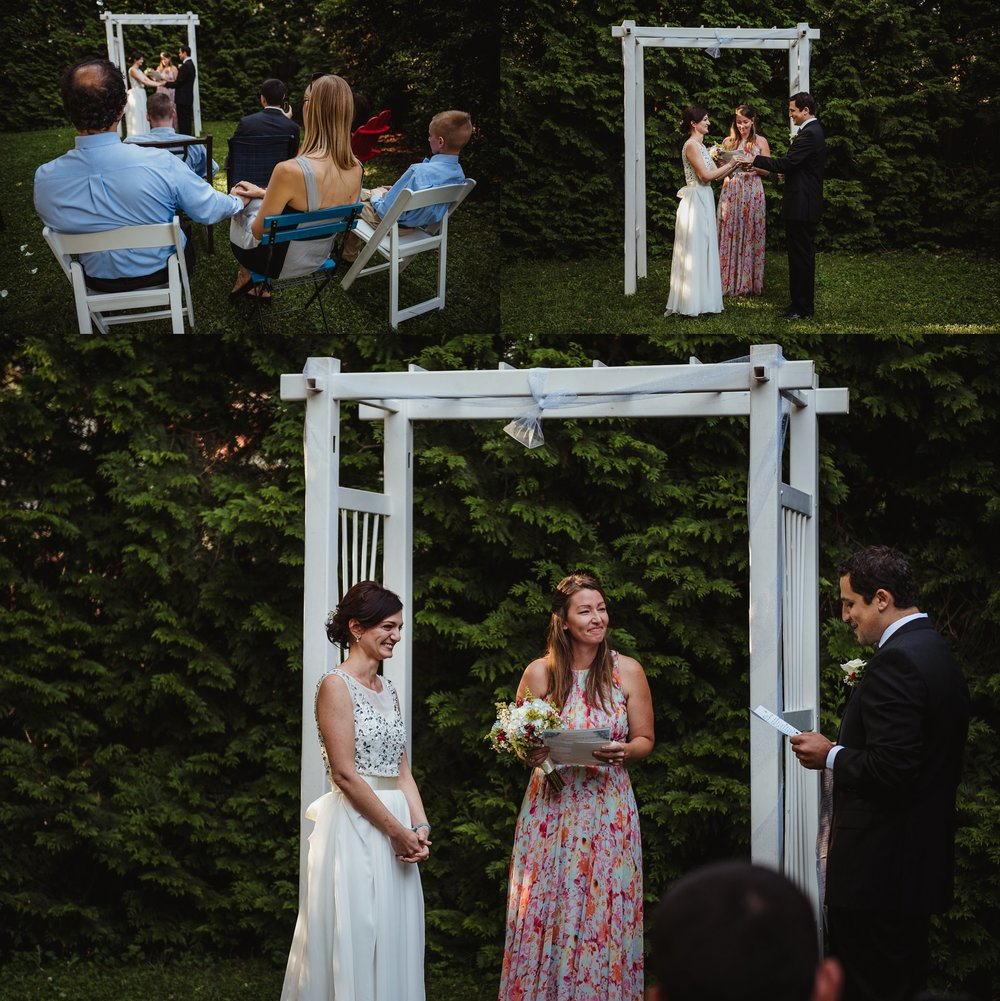 The bride and groom exchange rings during their intimate wedding ceremony that took place in their backyard in downtown Raleigh, North Carolina, photo by Rose Trail Images.