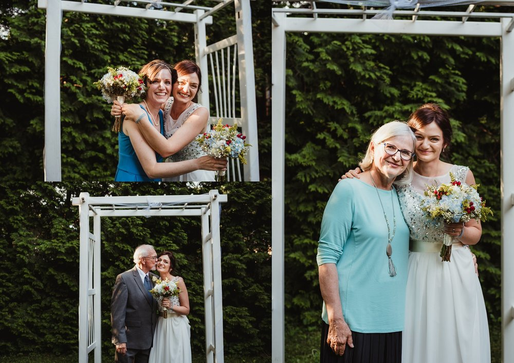The bride and groom took pictures with her family after their intimate wedding ceremony that took place in their backyard in downtown Raleigh, North Carolina, photo by Rose Trail Images.