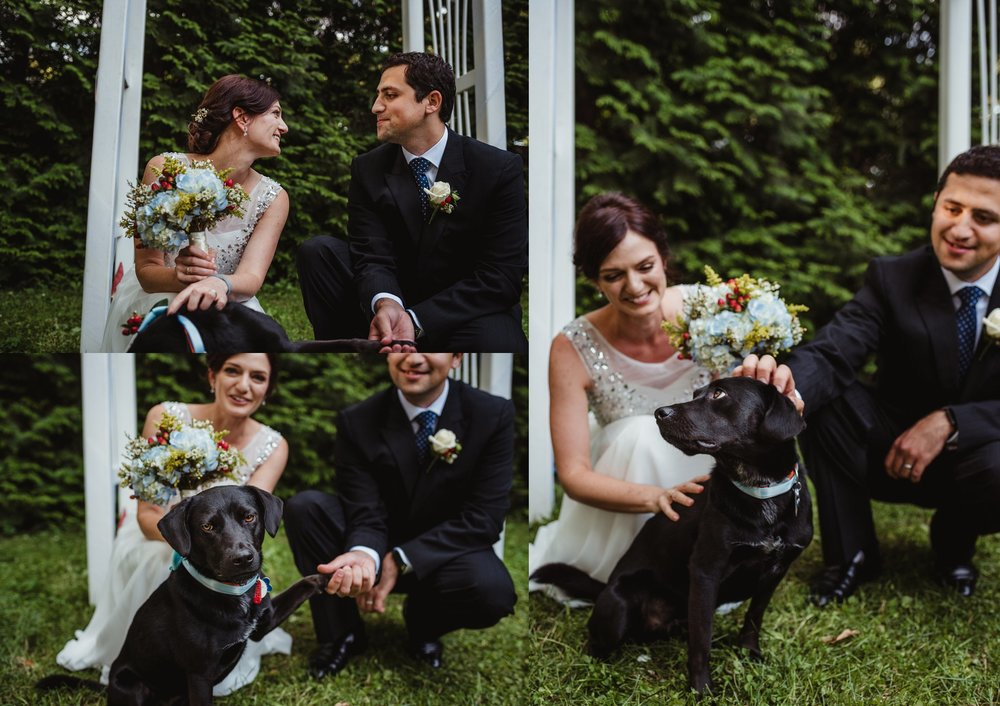 The bride and groom took pictures with their puppy after their intimate wedding ceremony that took place in their backyard in downtown Raleigh, North Carolina, photo by Rose Trail Images.