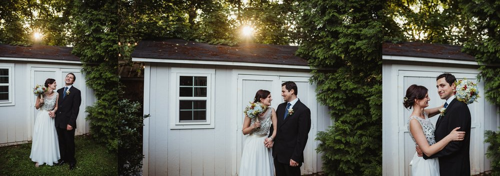 The bride and groom took portraits with Rose Trail Images after their intimate wedding ceremony at sunset that took place in their backyard in downtown Raleigh, North Carolina.