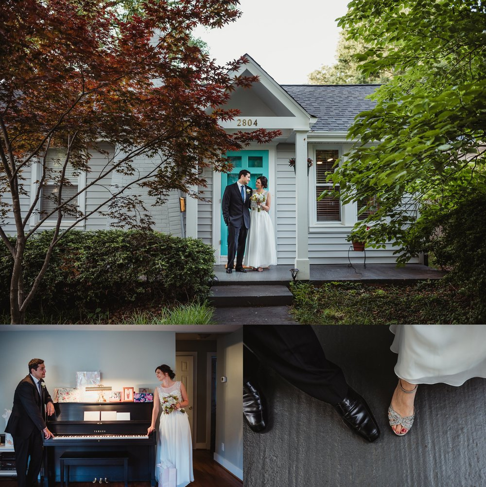 The bride and groom took pictures at their brand new house after their intimate wedding ceremony that took place in their backyard in downtown Raleigh, North Carolina, photos by Rose Trail Images.