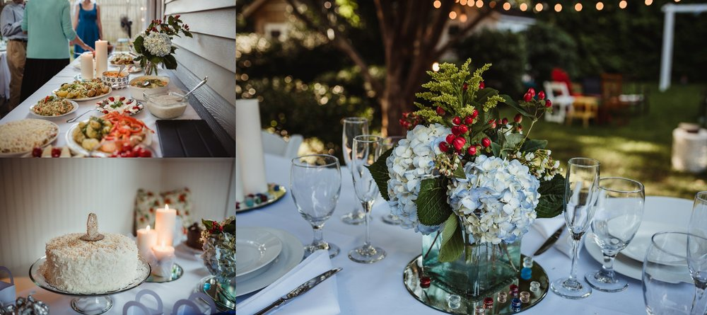 Details of their intimate wedding reception in their backyard in Raleigh include dinner made by Mom, hydrangeas, and coconut cake, photo by Rose Trail Images.