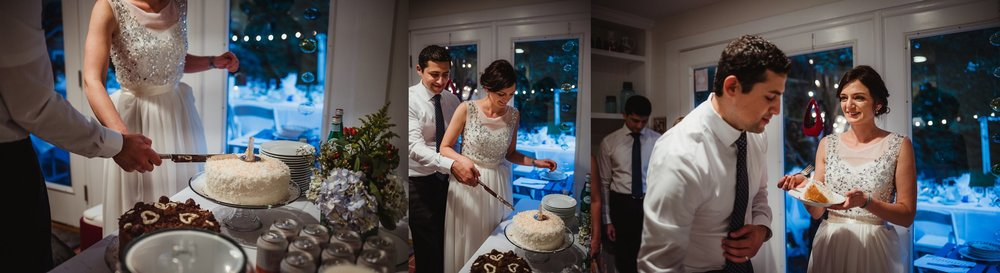 The bride and groom cut their coconut cake inside their home during their intimate wedding at their home in Raleigh, North Carolina, pictures by Rose Trail Images.