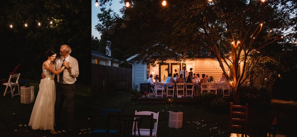 All the guests sat, ate, and danced al fresco under the market lights at their home in Raleigh for their intimate wedding, pictures by Rose Trail Images.