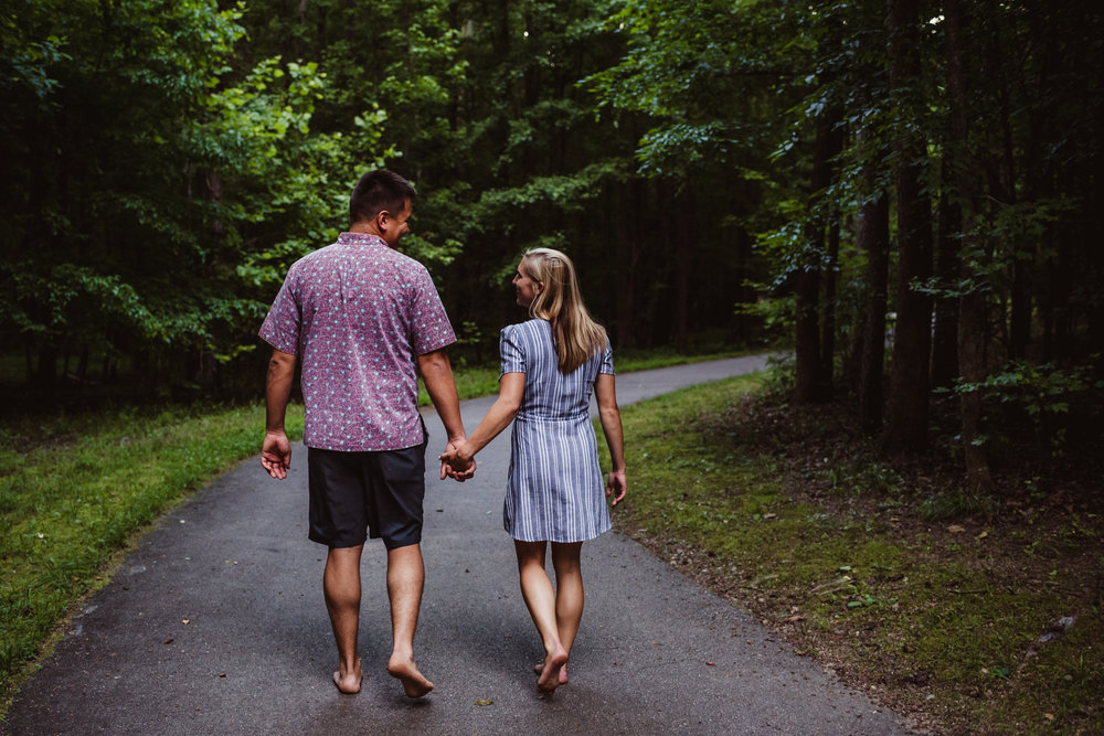 Kristin and Drew took a barefoot walk through the trees for their engagement pictures in Raleigh with Rose Trail Images.