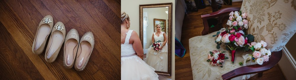 The bride getting ready and her bridal details at her intimate wedding in Raleigh, photos by Rose Trail Images.