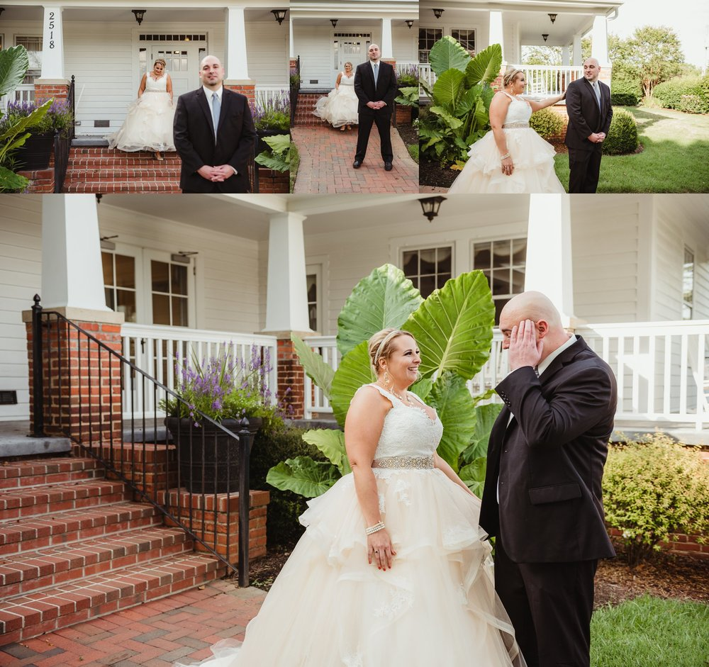 The bride and groom had their first look before the wedding ceremony on the porch of the Rand-Bryan House in Raleigh, photos by Rose Trail Images.