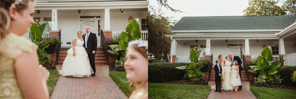 The bride and groom had their family pictures taken on the porch of the Rand-Bryan House in Raleigh before their wedding ceremony,  photos by Rose Trail Images.