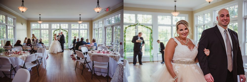 The bride and groom walk down the aisle as husband and wife at their wedding ceremony at the Rand-Bryan House in Raleigh, photos by Rose Trail Images.