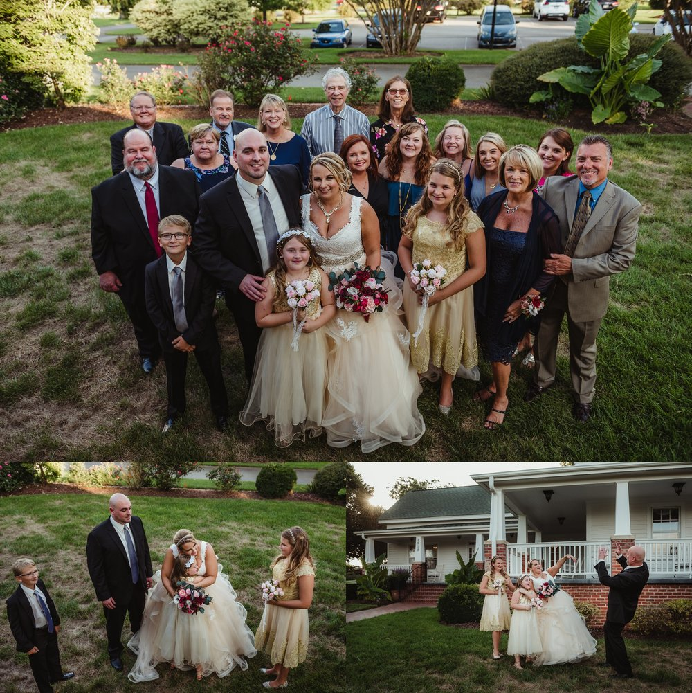 The guests all pose for a wedding picture after the wedding ceremony at the Rand-Bryan House in Raleigh, photos by Rose Trail Images.