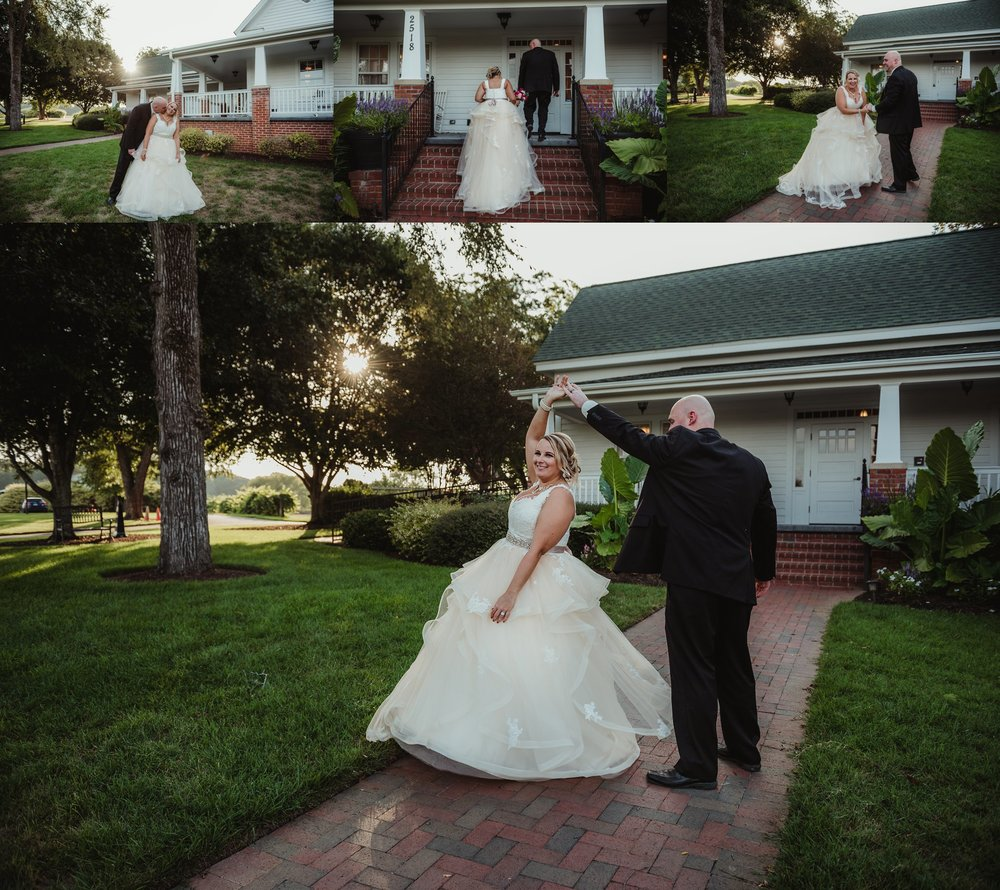 The bride and groom pose for portraits after their wedding ceremony at the Rand-Bryan House in Raleigh, photos by Rose Trail Images.