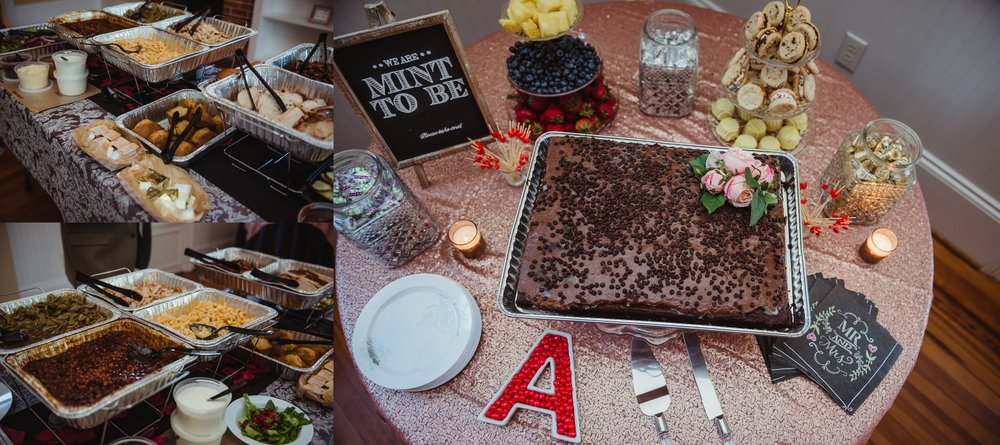Dinner at the wedding reception in Raleigh consisted of BBQ, fruit, cookies, and chocolate cake, photos by Rose Trail Images.