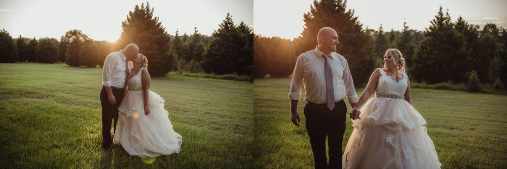 The bride and groom pose for sunset portraits at the Rand-Bryan House in Raleigh, photos by Rose Trail Images.