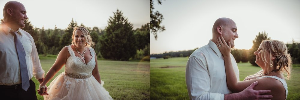 The bride and groom pose for sunset portraits after dinner at the Rand-Bryan House in Raleigh, photos by Rose Trail Images.