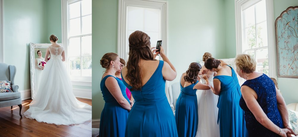 The bride getting ready before her wedding at the Merrimon Wynne in Raleigh, photos by Rose Trail Images.