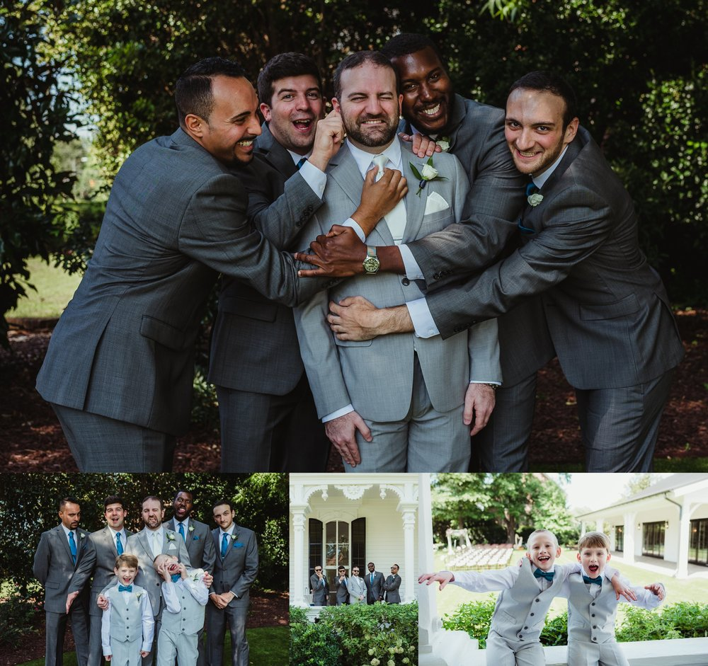 The groom and his groomsmen getting silly before their wedding at the Merrimon Wynne in Raleigh, photos by Rose Trail Images.