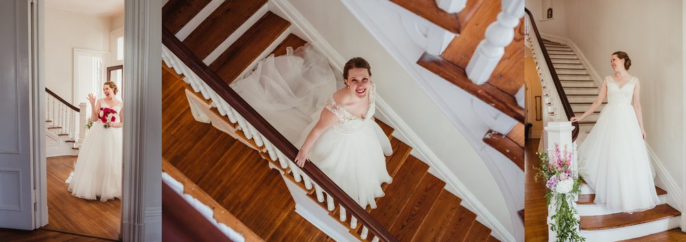 The bride walking down the stairs right before her wedding ceremony at the Merrimon Wynne in Raleigh, photos by Rose Trail Images.