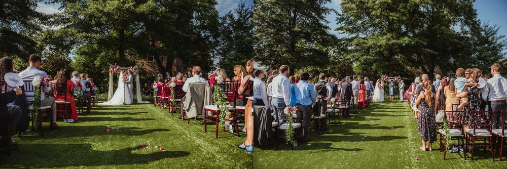 The bride and groom exchange vows during their wedding ceremony at the Merrimon Wynne in Raleigh, photos by Rose Trail Images.