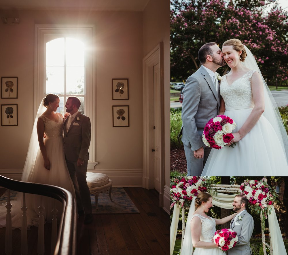 The bride and groom pose for portraits inside and outside of the Merrimon Wynne in Raleigh, photos by Rose Trail Images.