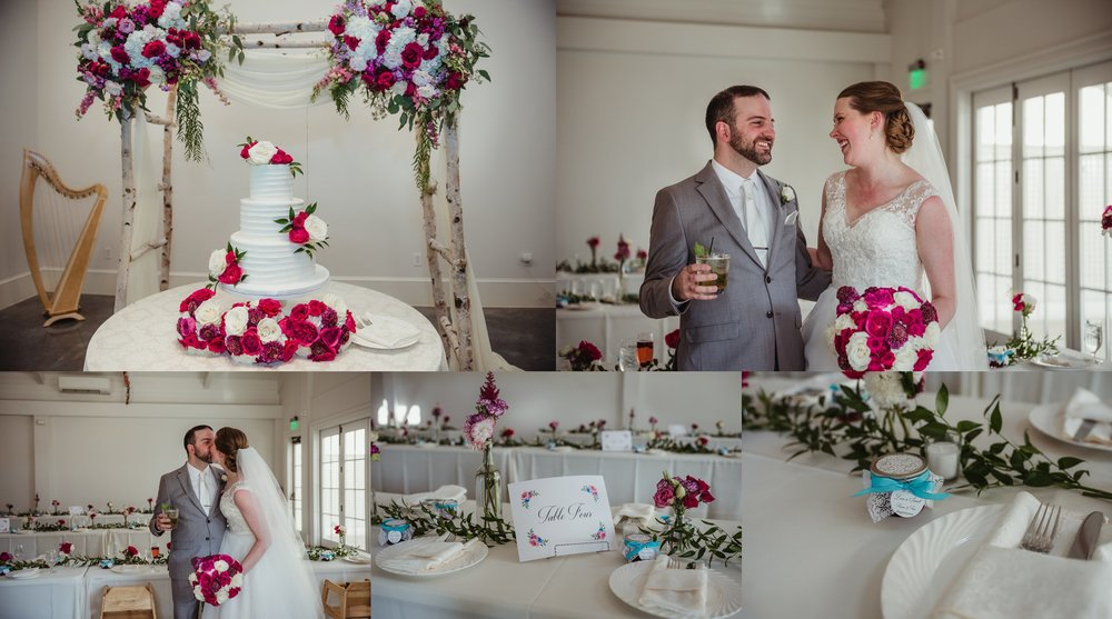 The bride and groom get ready to party after their wedding ceremony at the Merrimon Wynne in Raleigh, as well as show off their gorgeous floral details, photos by Rose Trail Images.