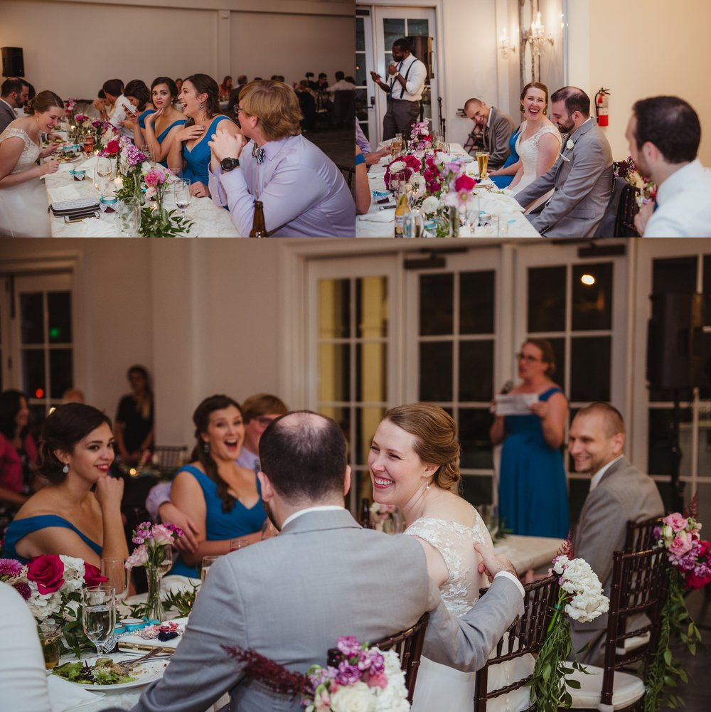 The bride and groom share laughs during the toasts at their wedding reception at the Merrimon Wynne in Raleigh, photos by Rose Trail Images.
