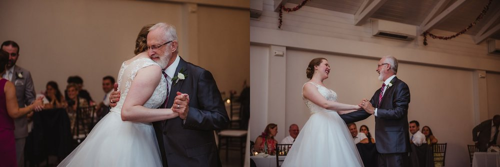 The bride and her dad share a dance during their wedding reception at the Merrimon Wynne in Raleigh, photos by Rose Trail Images.