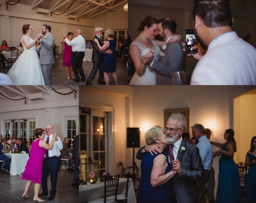 The bride and groom share a first dance with their parents during their wedding reception at the Merrimon Wynne in Raleigh, photos by Rose Trail Images.