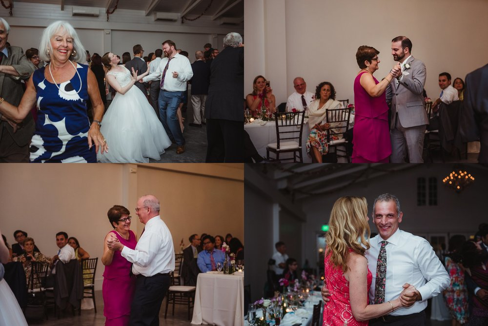 Guests enjoyed dancing during the wedding reception at the Merrimon Wynne in Raleigh, photos by Rose Trail Images.