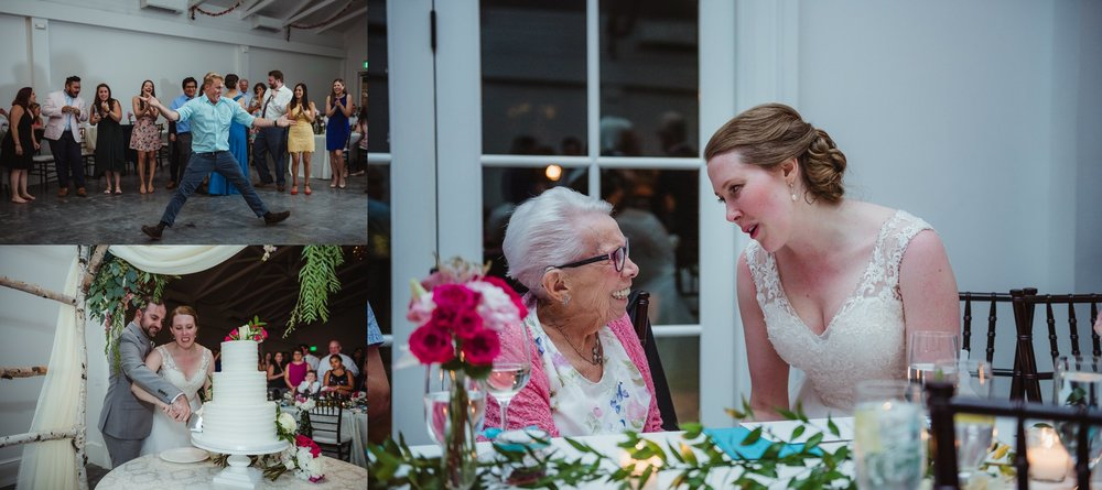 Guests enjoyed dancing while the bride and groom cut the cake during the wedding reception at the Merrimon Wynne in Raleigh, photos by Rose Trail Images.