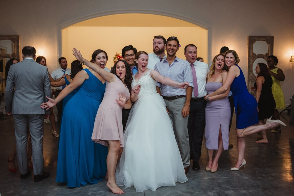 Guests enjoyed each other during the wedding reception at the Merrimon Wynne in Raleigh, photos by Rose Trail Images.