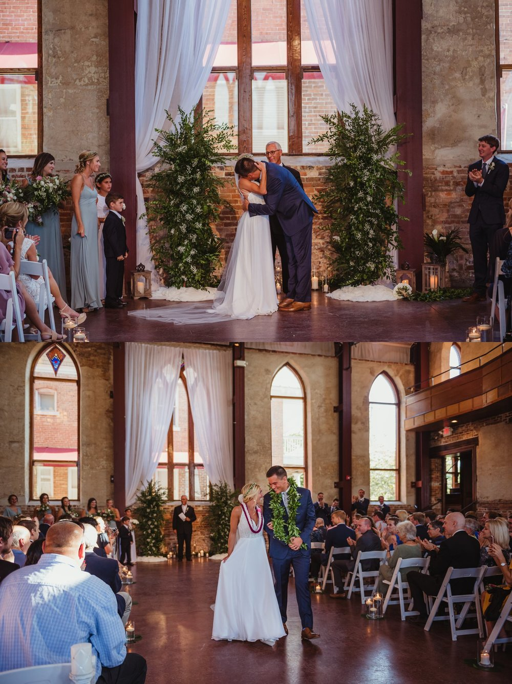 The bride and groom walk down the aisle after their wedding ceremony at the Brooklyn Arts Center in Wilmington, NC, photos by Rose Trail Images.