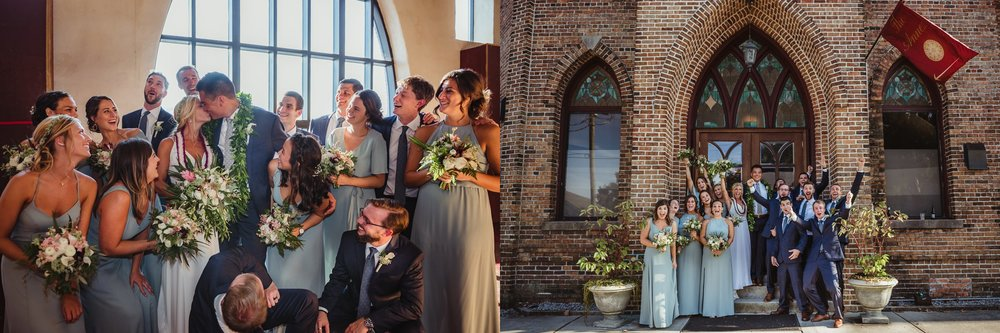 The bride and groom pose for pictures with their bridal party after their wedding ceremony at the Brooklyn Arts Center in Wilmington, NC, photos by Rose Trail Images.