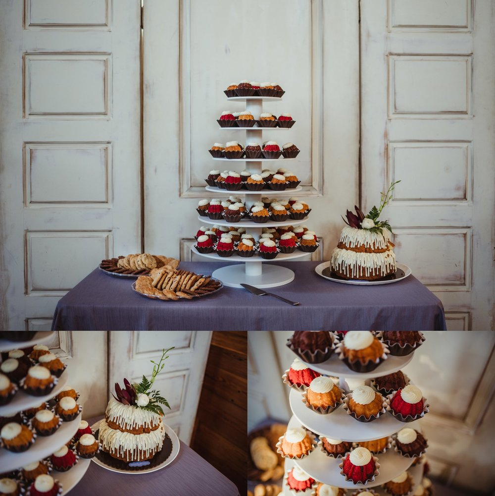 Details of the wedding reception in Wilmington, North Carolina include bundt cakes and cookies for all the guests, photos by Rose Trail Images.