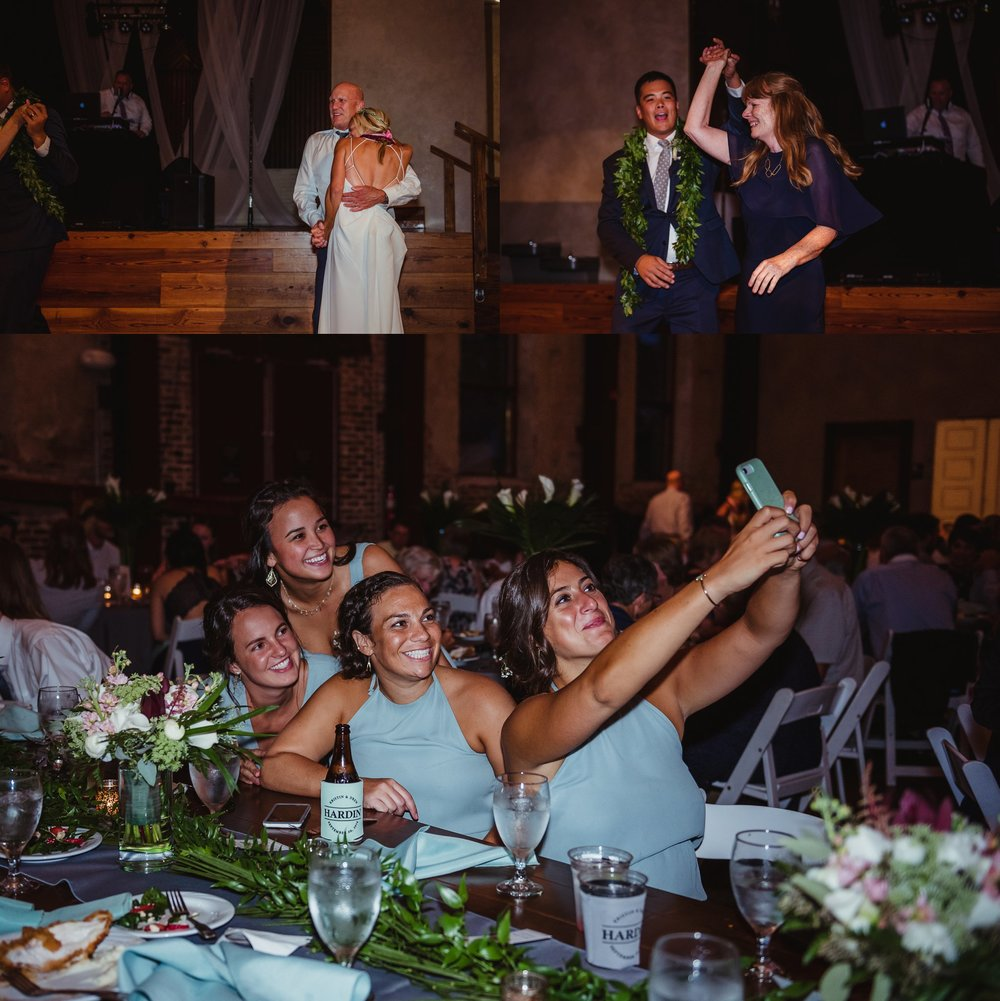 The bride and groom dance with their parents and the bridesmaids share a selfie at their wedding reception in Wilmington, NC, photos by Rose Trail Images.