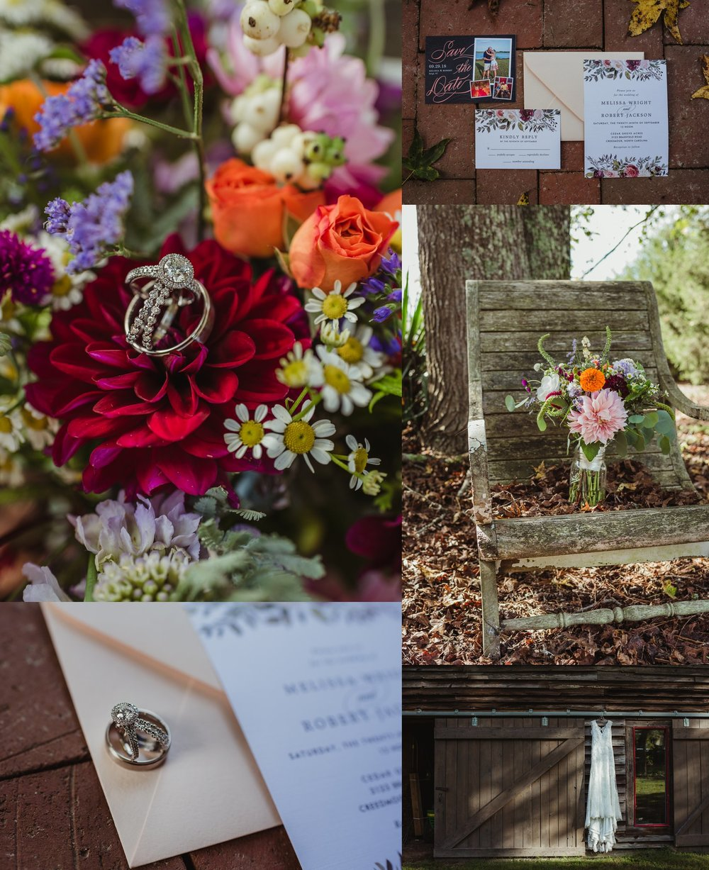 Details of the bridal bouquet, their rings, and a wedding dress, taken by Rose Trail Images at Cedar Grove Acres near North Carolina.