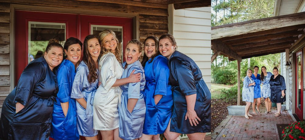 The bride and her bridesmaids pose for portraits with Rose Trail Images before her wedding ceremony at Cedar Grove Acres near North Carolina.